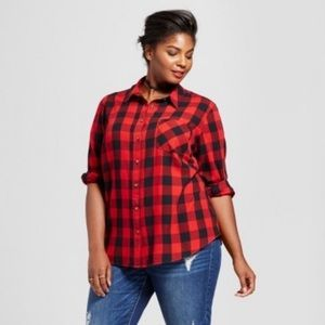 Ava & Viv Red and Black Flannel Shirt Size 4X